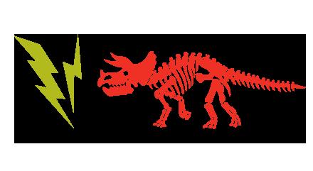 Dinosaur and lightning bolts