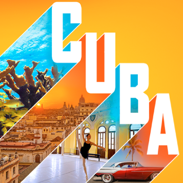 "Cuba is written in large letters. Within each letter there is an image. Under the C there is a sea of fish. Under the U there is a photo of traditionally built Cuban buildings in a city. Under B is a Cuban ballerina dancer. Under A is a classic Cuban ""Cold War Hot Rod."""